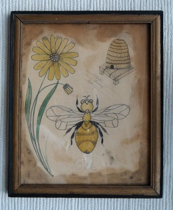 primitive watercolor of a bee