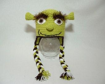 Shrek Hat Fuzzy Eyebrow  Halloween Costum Hat