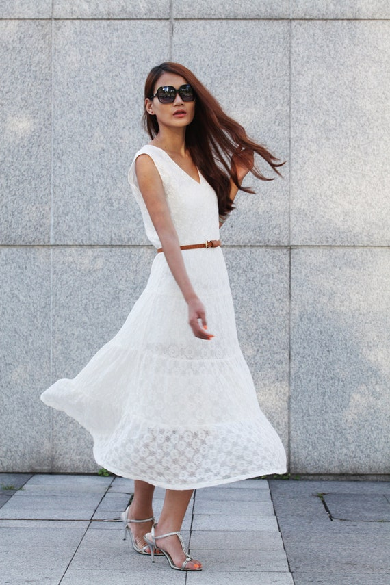 "Maxi Lace Dress Romantic '' V "" Neck Sleeveless Lace Long Dress For Summer in White- NC379"
