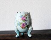 Vintage Porcelain Vase Robins Egg Blue Ornate Moriage Hand Painted Pink Roses, Japanese