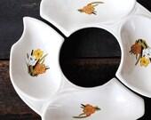 Vintage California Original Fall Flowers Pottery Bowl Dishes, Mid Century Modern Decor