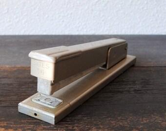 Vintage Stapler, Bates Tan Metal Industrial Office Supply