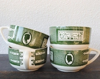 Royal China Colonial Homestead Coffee Tea Cup Set, Vintage Pennsylvania Dutch Kitchen, Four (4)