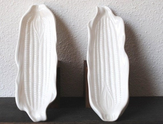 Thanksgiving Corn Dish Tray Set, Vintage California White Pottery Decor or Serving