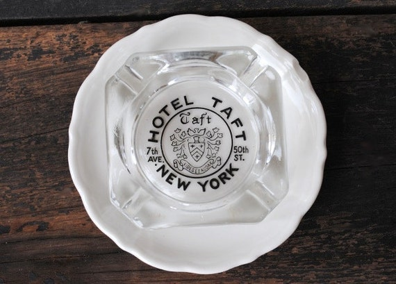 1960s Taft Hotel Vintage Glass Square Ashtray NEW YORK