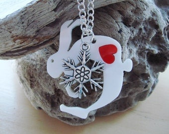 Quentin the Christmas Hare acrylic necklace with a snowflake & swappable coloured hearts