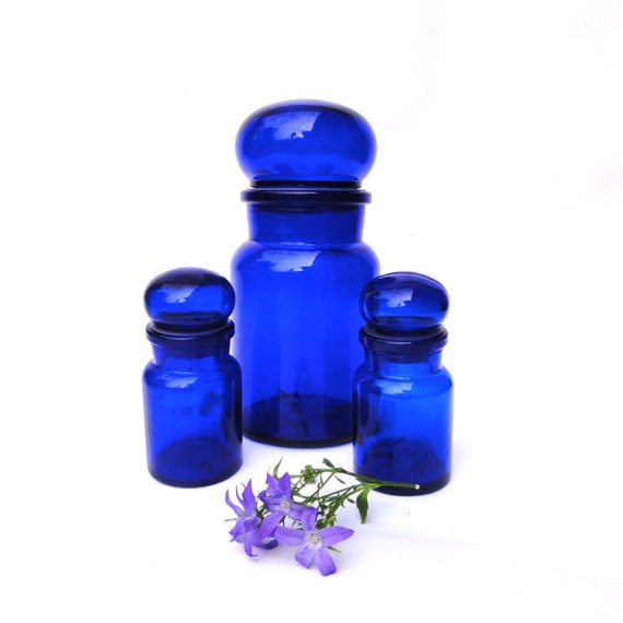 Cobalt blue glass jars glass canisters storage by oldamsterdam - Blue glass kitchen canisters ...