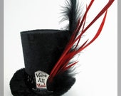We're All Mad Here Tiny Top Hat / Mini Top Hat Black and Red with Silver