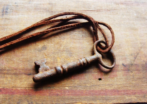 Skeleton Key Necklace. Vintage Brass Skeleton Key on Leather Cord. For Him or Her