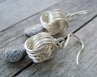 Celtic Knot earring - jewelry - earring - dangle - drop - silver earring - handmade ear hook -nautical coin -tribal jewelry - celtic jewelry