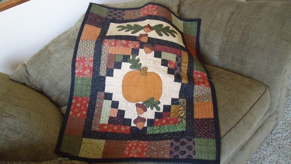 Fall Leaves and Acorns with Pumpkin and a Patchwork Border