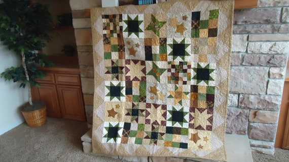 Chocolate Cream Stars TV Quilt 53 by 63  inch