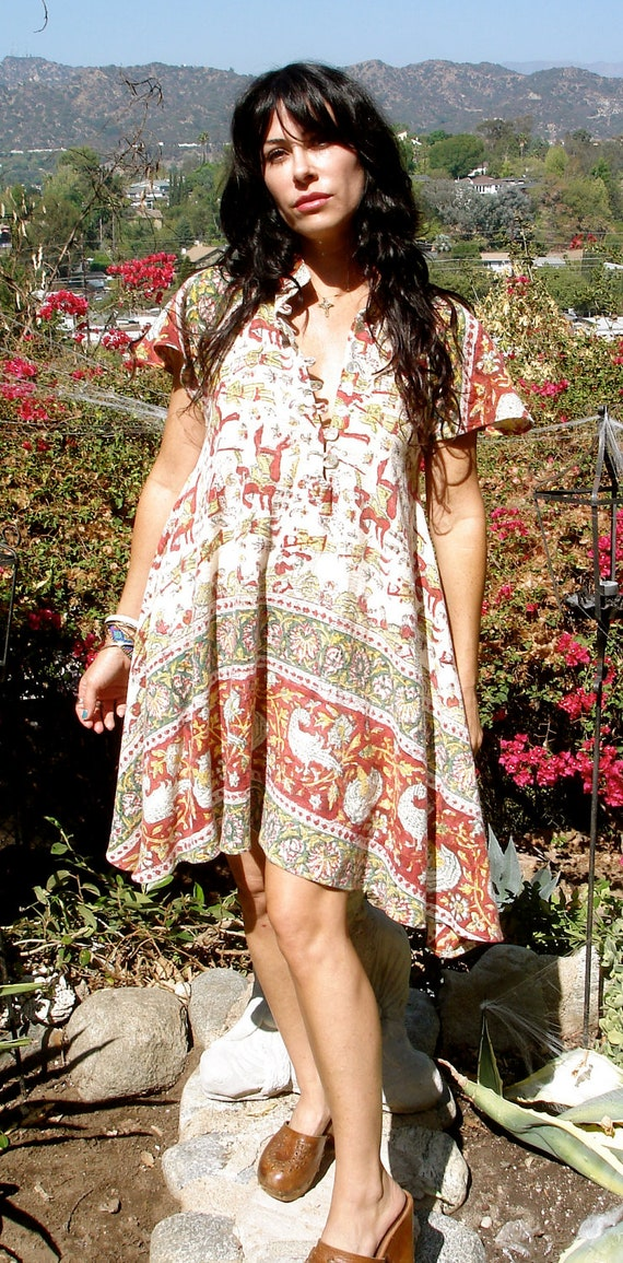 Rare Gauzy Print One of a Kind Vintage Indian Cotton Mini Dress Flutter Sleeves