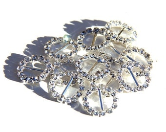 "3/8"" Rhinestone Crystal Ribbon Buckle Slider for Invitations and Craft"
