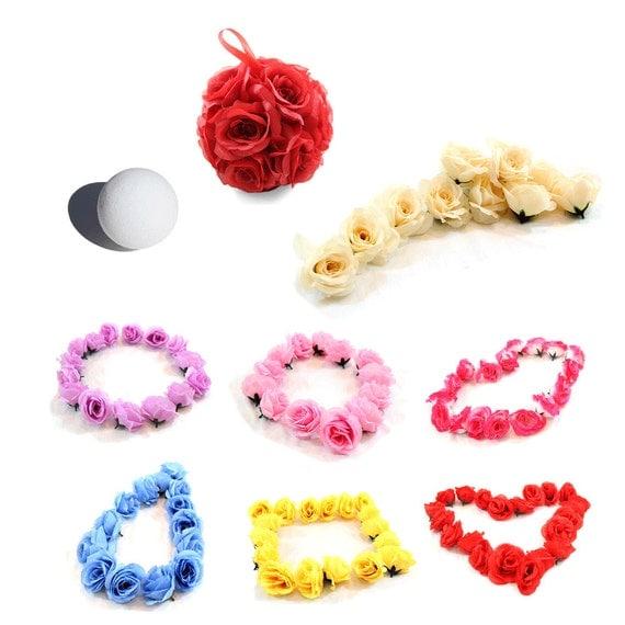 3.25 Inches Silk Rose Wedding Flowers for DIY Kissing Pomander Balls Craft Art 12pc/pk