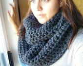 Crochet Infinity Scarf- Charcoal- SIZE MEDIUM