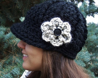 Crochet Newsboy Hat with Flower- Black