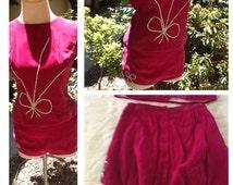 1950s 50's Vintage HOT pink velvet w/ Rhinestones 2 piece set Burlesque Dancer Costume pin Up shorts VLV XS