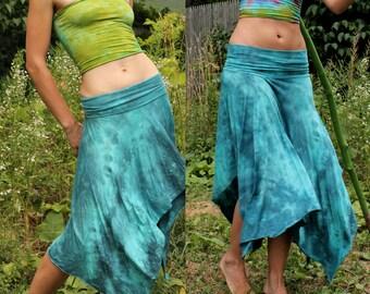 Bamboo pixie skirt asymmetric woodland fairy tie dye psy wear maternity S, M, L