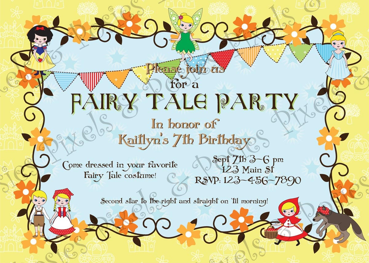 Fairy Tale Party Invitation Birthday Party Costume Party