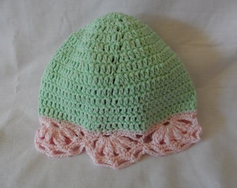 Pale Pink and Green Crocheted 100% Cotton Beanie for 0-3 months