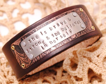 Hand stamped Bracelet She is Brave and Strong Etched Copper Narrow Chocolate Brown Leather