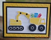 Handcrafted Kids Construction Trucks Birthday Card/Invitation