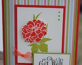 Handcrafted Floral Get Well Card