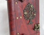 Luxury handmade vintage look blank leather journal notebook with Tree of life emblem
