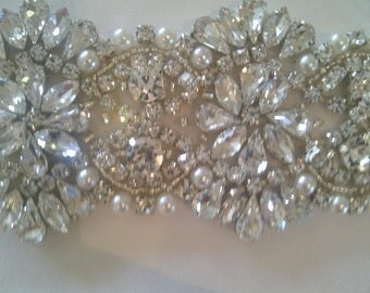 Bridal crystal rhinestone and pearl bridal sash - 20""