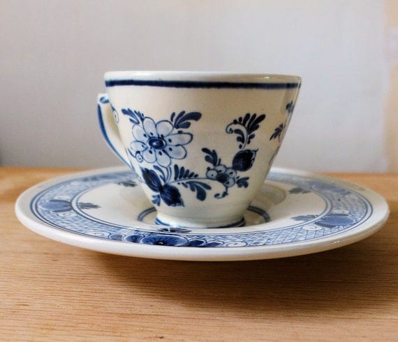 Deflt Blue Teacup and Saucer by Velsen, Delfts Blauw Made In Holland, Signed