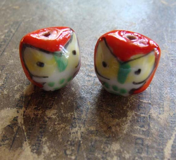 Red Porcelain Owl Beads