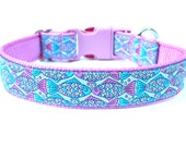 "Pastel Dog Collar 1"" Rainbow Fish Dog Collar"