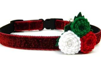 """Small Dog Christmas Dog Collar 5/8"""" Red Dog Collar SIZE SMALL"""