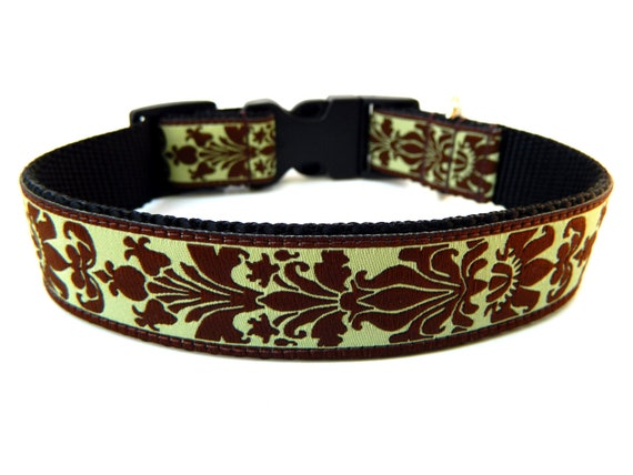Preppy Dog Collar Green and Brown Damask