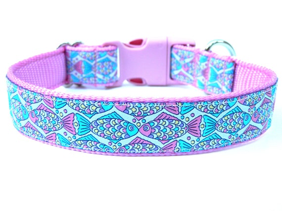 Pastel dog collar 1 rainbow fish dog collar by wagologie for Fish dog collar