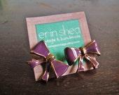 vintage gold and purple enamel bow earrings