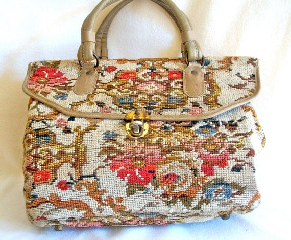 Women's vintage handbag, carpetbag, tote by Jaclyn, cream with flower motif, 1950s - 1960s