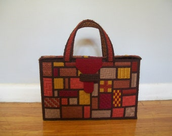 SALE Vintage Fall/Autumn leaf colors Geometric Bargello Embroidered briefcase style bag