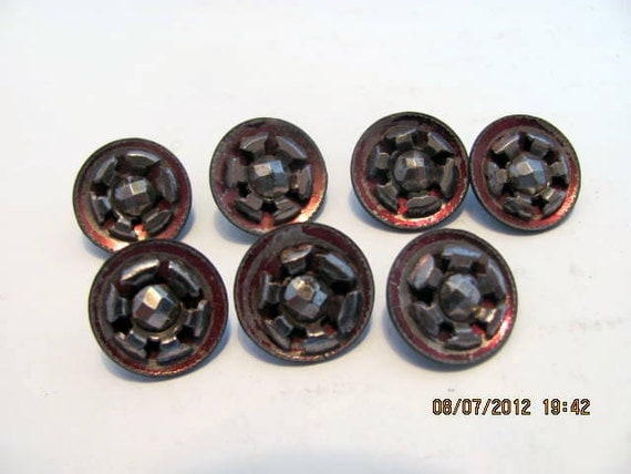 Seven Small, Victorian, Steel Cut, Metal Buttons FREE SHIPPING