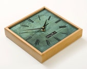 VIntage Inspired Green Wooden Wall Clock