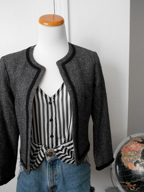 Cropped Grey Tweed Pendleton Blazer with Black Piping Detail