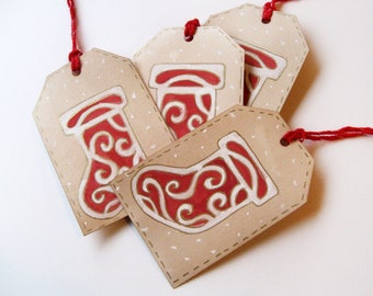 gift tags Hand painted - red and white Christmas stockings (4)