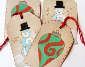 christmas gift labels mixed collection - set of 4