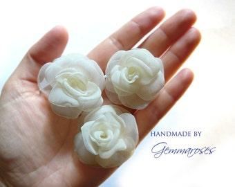 White Handmade Bridal Wedding Hair Pin or Bobby Pin - set of 3