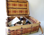 Sewing Box, Vitnage Sewing Basket, Wicker, Brass Hinges, with Wooden Thread Spools