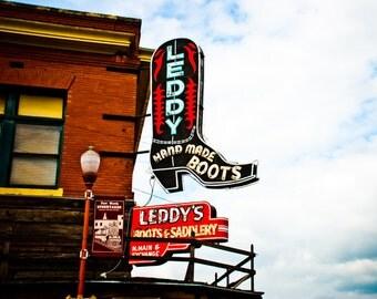 Fort Worth Texas - Neon Sign - Fine Art Print - Leddy's Boots