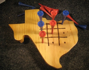 State Of Texas Wooden Tic Tac Toe & Jump the Peg Game