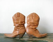 Vintage Cowgirl Boots - Tan Leather Cowboy Boots Womens Size 38 Tan Brown Leather Geometric Pattern Embroidery
