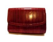 Oxblood Red Eel Skin Shoulder Bag / Clutch Envelope Style Holiday Sale